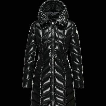 Moncler New large hair collar down jacket female long section