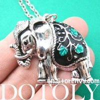 Elephant Animal Pendant Necklace in Silver with Floral Vine Detail