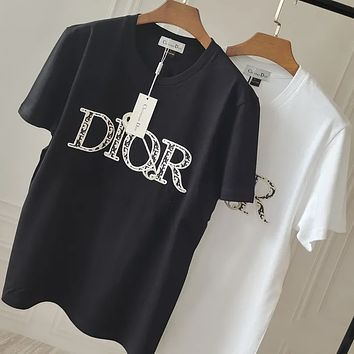 DIOR Embroidered cotton short sleeves