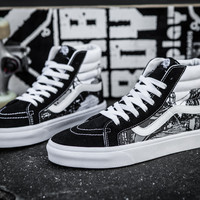 Vans classic sk8-hi high top canvas unisex skateboarding sneakers for men and women street pattern embroidered number shoes