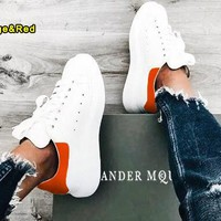 ALEXANDER MCQUEEN Tide brand women's new products thickening in the thick white shoes(Velvet tail) orange/red