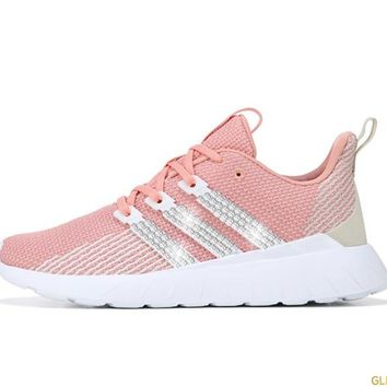 CLEARANCE - Women's Adidas Questar Flow + Crystals - Dust Pink/Raw White - Size 8.5