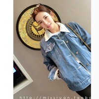 Fall and winter clothes new Women Korean lambs wool denim jeans warm cold thick cotton jacket