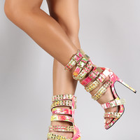 Pyramid Studded Strappy Buckle Floral Print Gladiator Heel