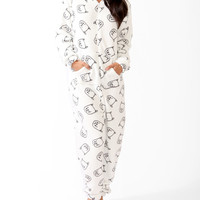 Ditsy Cat Hooded Onesuit