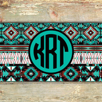 Monogrammed front license plate tribal - Aztec car tag with turquoise and black - personalized car tag, Navajo vanity license plate (1254)