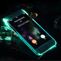 New Arrival Calling Flash Case For Iphone 6 6S 6 Plus Fashion Unique LED Glitter Glow Light Transpartent Hard PC Cover Capa