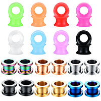 28PC Tunnels Screw Fit Double Flare Plugs 4G-16mm Steel Silicone Ear Stretching Gauges Set