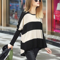 Black And White Long Sleeve Knit Sweater