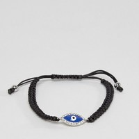 DesignB Eye Woven Bracelet In Black at asos.com