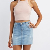 MINERAL WASH BIB NECK CROPPED TANK