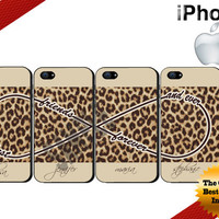 Best Friends Forever and Ever iPhone Cases - iPhone 4 Case or iPhone 5 Case - Infinity - Leopard Print  iPhone Case - Four Case Set