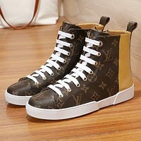"Hot Sale ""Louis Vuitton"" LV New Popular Women Personality Print High Top Flat Shoes Sneakers Golden I-ALS-XZ"