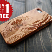 Cherry Wood Sea Wave iPhone 5 5s Case , Personalized Wood iPhone 5 5s Case Cover , Real Wood iPhone 5 5s Wood Holder , Wood Phone Case