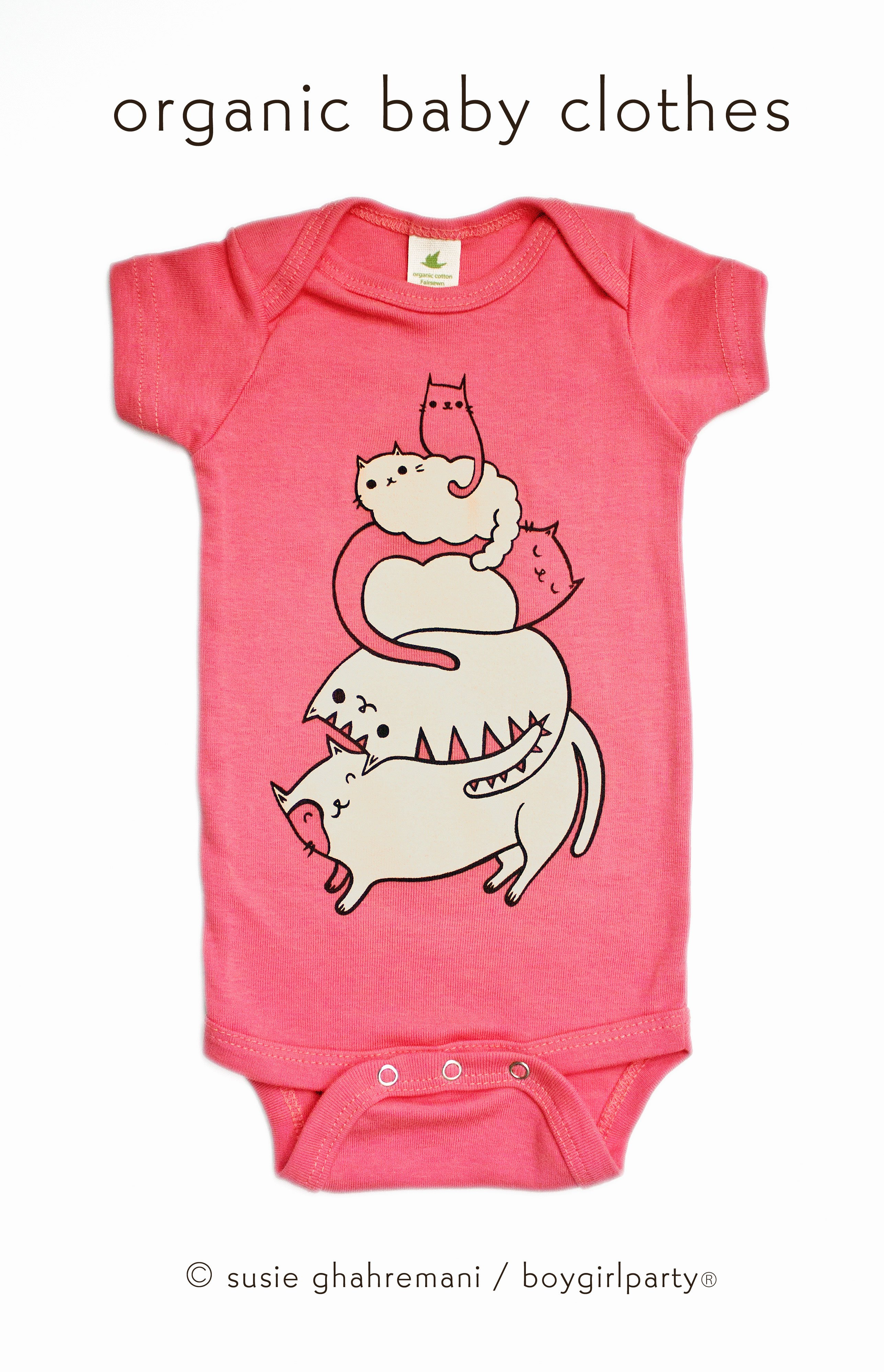 Image of Cute Cat Baby Onesuit — Cat Baby Clothes — Organic Baby Onesuit