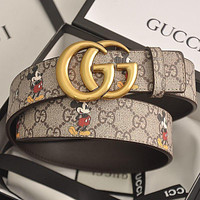 GUCCI GG men's and women's double G letter smooth buckle belt