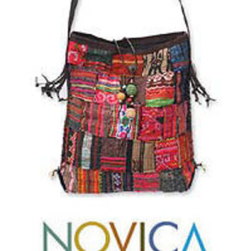 Fair Trade - Gifts - Cotton shoulder bag, 'Hill Tribe Patchwork'
