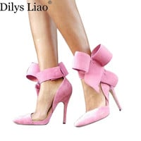 Fashion Women's Shoes Pointed Toe Big Bowknot Thin Heels High Heels Sandals Shoe Female Wedding Shoes Plus Size 9 Red Blue Black