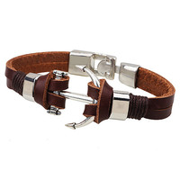 Men Jewelry Anchor PU Leather Wristband Bangle Bracelets for Couple Alloy