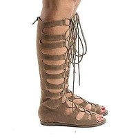Rita71 By Breckelle's, Knee High Gladiator Corset Lace Up Flat Open Toe Sandals