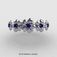 Summer Collection 14K White Gold Blue Sapphire Five Petal Flower Wedding band NN109B-14KWGBS