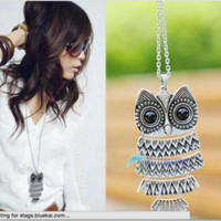 New Lady Women Vintage Silver Owl Pendant Necklace best Gift For XMAS