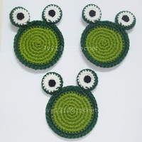 Set of 6 Green Frogs Crochet Coasters - Finished Handmade Beverage Kitchen Home Decor Housewares Coasters or Potholders