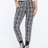 Full Tilt Athletic Waist Print Womens Jogger Pants Black/Grey  In Sizes