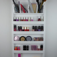 White make up organizer - display- bathroom storage- pencil,brush,lipstick holder Nail polish rack -wall hanging-plexiglass-acrylic