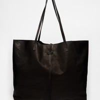 ASOS Unlined Leather Shopper Bag With Tie Detail