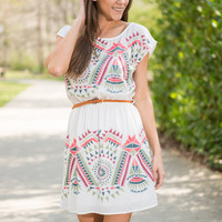 Native Nuances Dress, Coral-Ivory