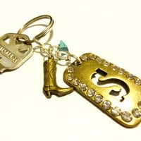 Cowboy Boot Keychain, Initial S Keychain, Southwestern Style Turquoise Key Chain, Brass Key Ring