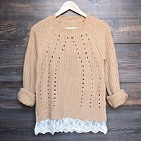 Final Sale - Aspen Open Knit Sweater With Lace Hem in Tan