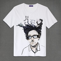 Tim Burton With His Characters Edward Scissorhands,Cheshire Cat,The Nightmare Before Christmas White T-Shirt Adult Unisex Size S M L XL