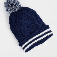 Navy Cable Knit Striped Hat | Hats & Beanies | rue21