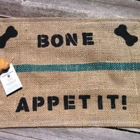 Organic, Earth Friendly, Stenciled Gunny Sack Dog Food Mat, Upcycled, Recycled, Eco Friendly, Coffee Bean Gunny Sack, Dog Food Mat, Burlap