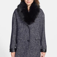 Women's DL2 by Dawn Levy 'Kaba' Tweed Coat with Removable Faux Fur Collar,