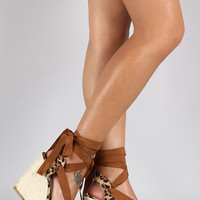 Breckelle Leopard Round Toe Ankle Wrap Espadrille Wedge