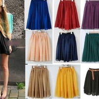 doshow — High Waisted Elastic Double Chiffon Pleated Layered Skirt FSQZ265