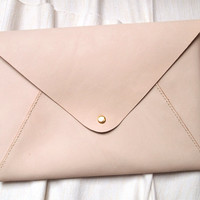"""Personalized Leather 13"""" Macbook Envelope Case/Clutch"""