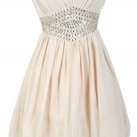 Beige Chiffon Strapless Dress with Embellished Waist
