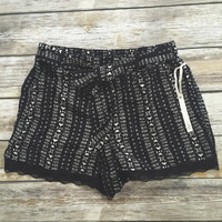 Black and White Printed Lace Trim Shorts