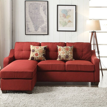 Acme 53740 2 pc Cleavon II red linen fabric sectional sofa with reversible chaise