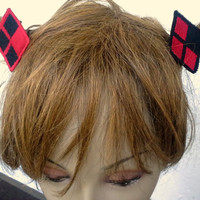 Harley Quinn inspired shoe or hair Clips barette