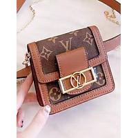 LV Louis Vuitton New fashion monogram print leather chain crossbody bag shoulder bag women
