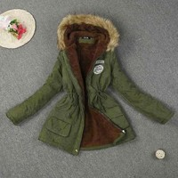 Women Parka Warm Fur Hooded Winter Coat Hood Fur Casual Coat Long Outwear Coat Fur Collar Abrigos Mujer Invierno 2016#B12