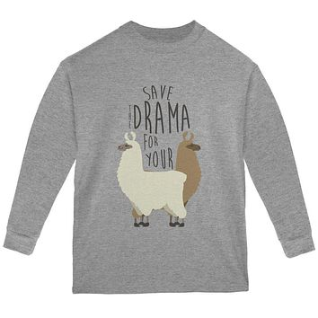 Save the Drama for Your Llama Pun Youth Long Sleeve T Shirt