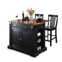 Crosley Drop Leaf Breakfast Bar Top Kitchen Island with 24-Inch School House Stools
