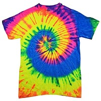 100% Cotton Colorful Tie Dye Vibrant Shirt - Neon Rainbow