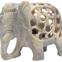 SouvNear Mom and Me - Mother Elephant with Baby Inside - 5 Inch Stone Elephant Decor Statue - Impossible Hand-Carved Stone Art Sculpture from India